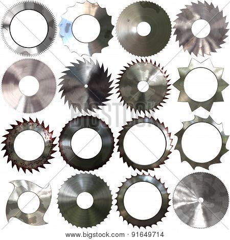 Set Of Saw Blades Generated Textures