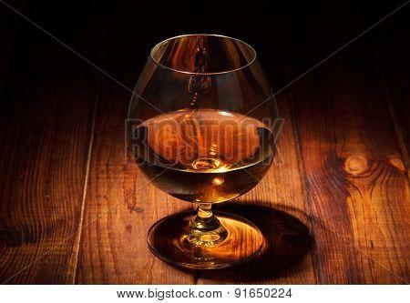 Glass of cognac closeup