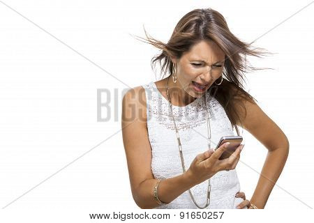 Vivacious Woman Reacting To A Text Message