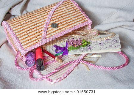 Women handbag with decorations and greeting cards