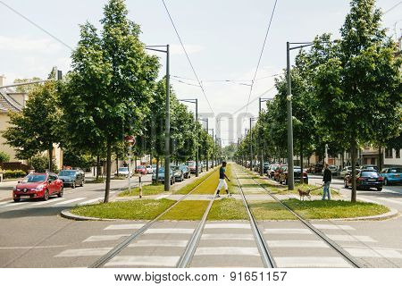 Black Ethnicity Man Crossing Roads In The Middle Of Railroad Track
