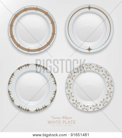VECTOR set with patterns on plates.