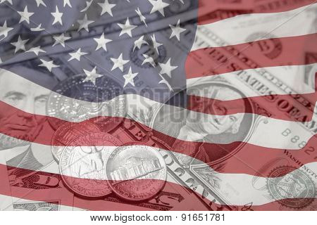 American flag, coins and banknotes