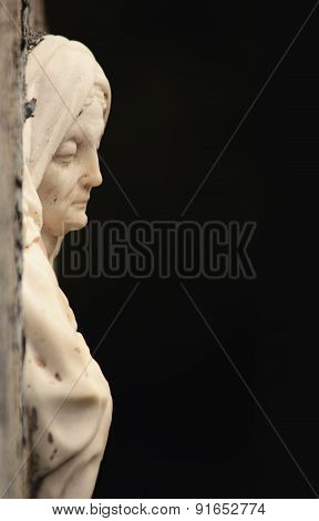 Marble Statue Of Woman On Tomb