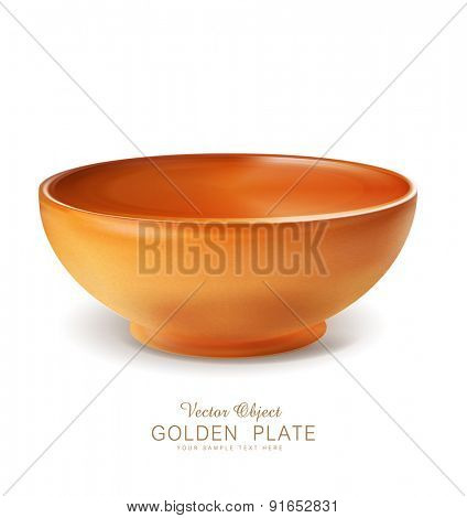 vector object - an orange plate / bowl (isolated)