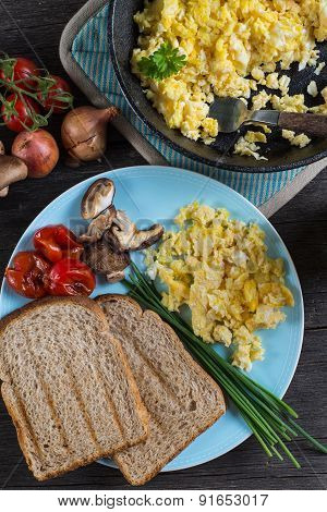 Serving Healthy Brunch, Scrambled Egg With Vegetables, From Above