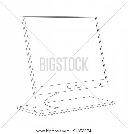Monitor Contour On A White Background
