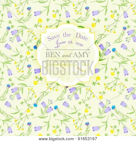 background for design wildflowers and bannersave the date.vector illustration