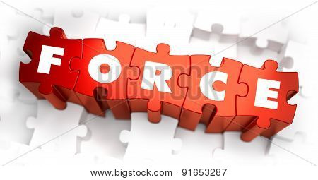 Force - Text on Red Puzzles with White Background.