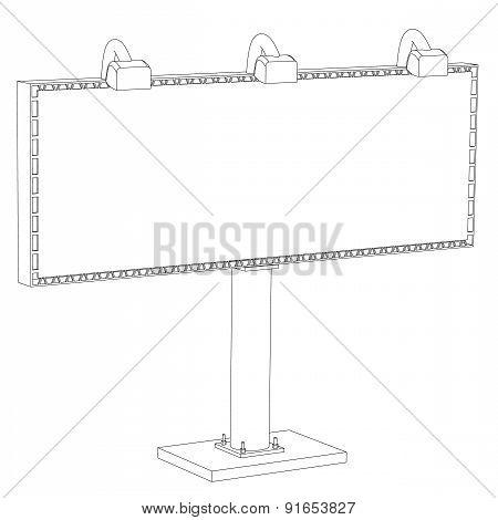 Billboard With Illumination On A White Background