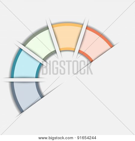 Color Semicircle Template With Text Areas On Five Positions
