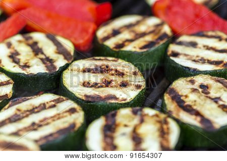 Zucchini And Red Pepper On A Grill