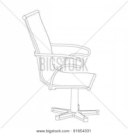 Office Chair With A Back On A White Background