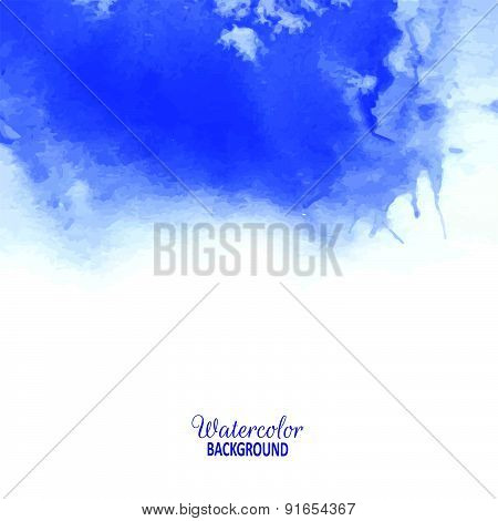 Vector Illustration. Hand Painted Blue Watercolor Background.