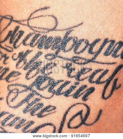 Image Of Tattooed Female Arm. Close-up Portrait Of A Tattooed Young Girl. Text Tattoo