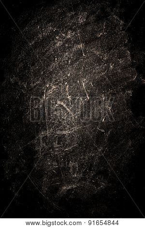 Grungy Black Background With Spotlight And Scratches. Chalk Rubbed Out On Blackboard
