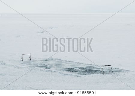 Football field on Baikal Lake
