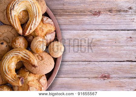 Tasty Turkish Pastries On Tray On Wooden Table