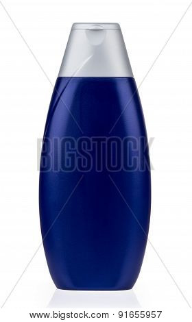 Blue Plastic Bottle With Shampoo Isolated On White