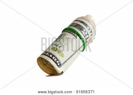 Rolled 20 Dollars With Rubber Isolated On White