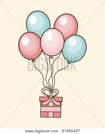 Birthday design over beige background vector illustration