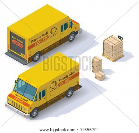 Isometric mail step van front end rear view