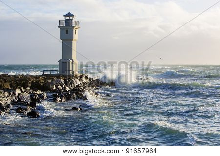 Lighthouse At The Port Of Akranes, Iceland