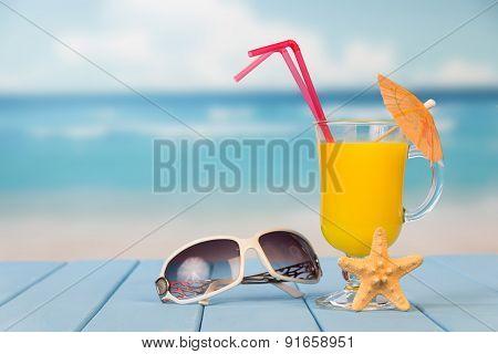 Juice, starfish and sunglasses