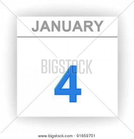 January 4. Day on the calendar. 3d
