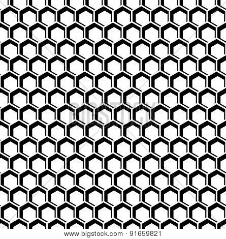 Seamless hexagons op art texture. Honeycomb pattern. Vector art.