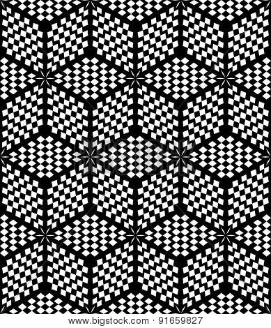 Hexagons and diamonds op art pattern. Seamless geometric texture. Vector art.