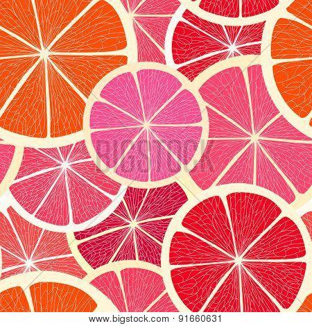 Grapefruit seamless background. Raster version