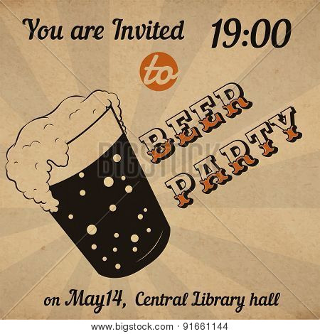 Retro Beer Glass Invitation Card