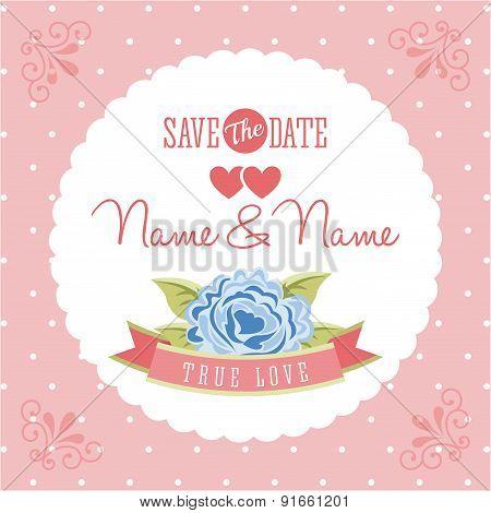 Invitation design over pink background vector illustration