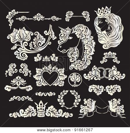 Vector Royal Wedding Vignettes
