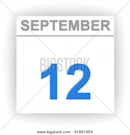 September 12. Day on the calendar. 3d