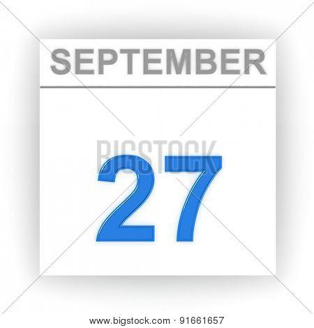 September 27. Day on the calendar. 3d