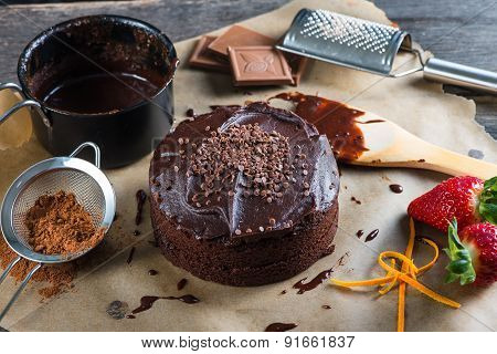 Homemade Chocolate Torte Cake On Baking Paper