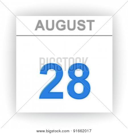 August 28. Day on the calendar. 3d