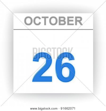October 26. Day on the calendar. 3d