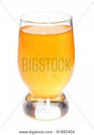 Glass of apple juice, isolated on white