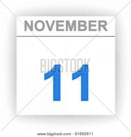 November 11. Day on the calendar. 3d