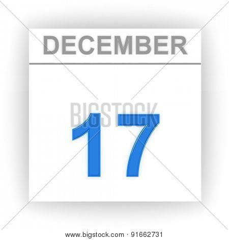 December 17. Day on the calendar. 3d