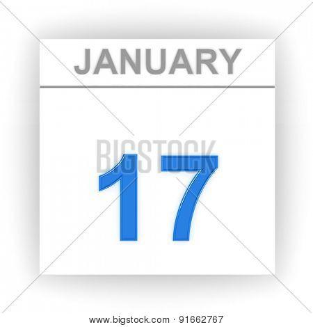 January 17. Day on the calendar. 3d