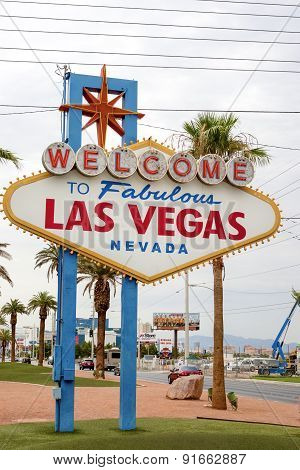Las Vegas- United States, July 9, 2014: Fabulous Vegas - Welcome To Fabulous Las Vegas In Nevada Sta
