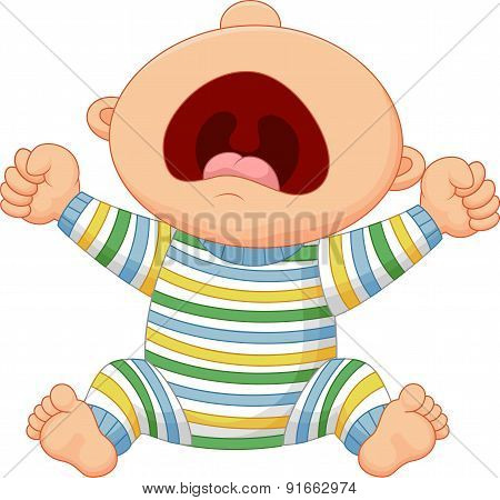 Cartoon baby boy crying