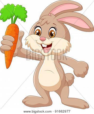 Cartoon happy rabbit holding carrot