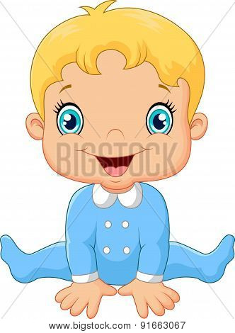 Cartoon baby boy wearing blue pajama