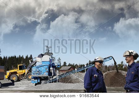 industry workers and stone quarry works, bulldozers and trucks