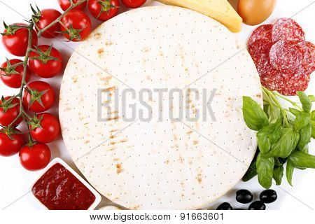 Ingredients for cooking pizza, closeup